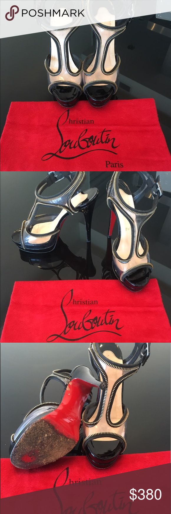 Authentic Christian Louboutin Ziparent Platforms Gorgeous Ziparent black platform sandals by a Christian Louboutin. Perfect for any night out on the town or to dress up jeans and a shirt. Zipper lined clear pvc straps with the signature red soles to complete the look. Signs of minor wear on the pvc straps. Heel height 140 mm. The soles have signs of wear throughout ( see pictures.) Dust Bag included. Christian Louboutin Shoes Platforms