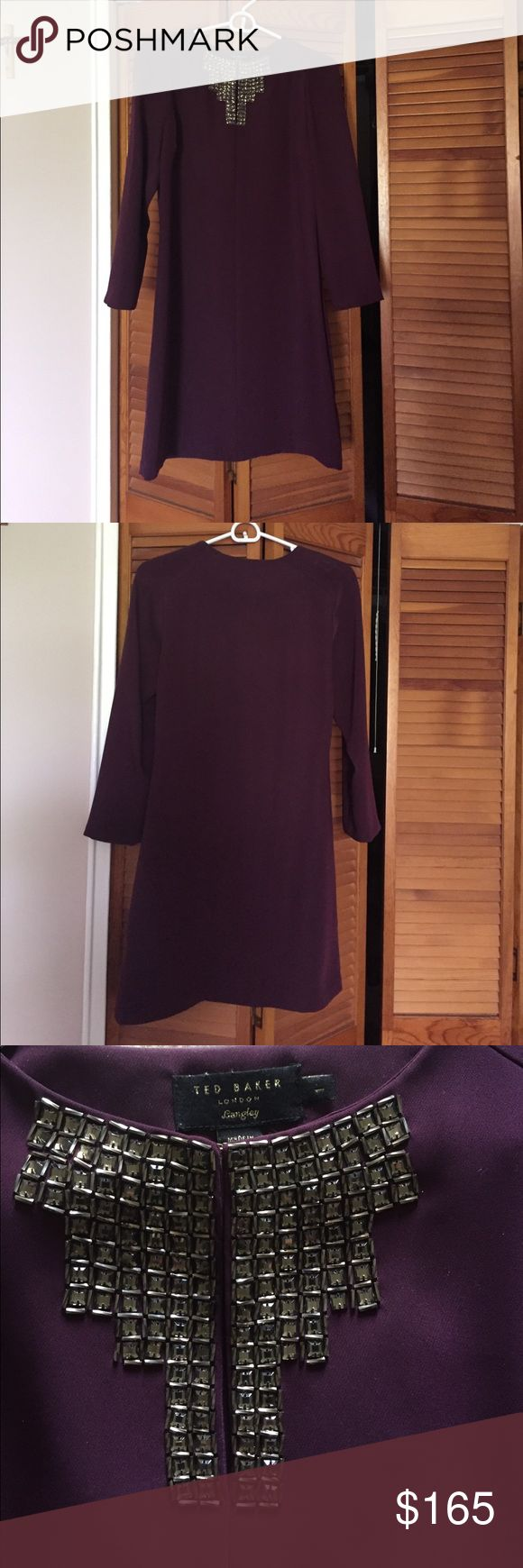 Ted Baker dark purple dress 👗 🍇 Sophisticated above the knee dress - ( 33 inches) feels silky and looks gorgeous with beautiful front detail - could be day to night or party dress...🎊no damage no stains- worn once 🌟 Ted Baker Dresses Mini