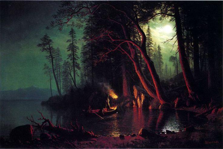 Озеро Тахо, ловля рыбы острогой при свете факелов. Альберт Бирштадт