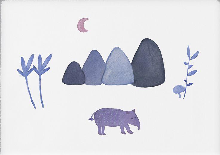 Jelena Matriszenka #watercolor #watercolorillustration #illustration #watercolorart #art #akwarele #creature #cute  #animal #artforkids #illustrationforkids #kids #floral #nature #tapir