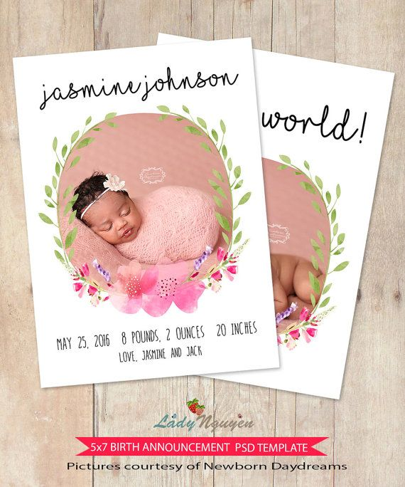 INSTANT DOWNLOAD  TEMPLATE DETAILS: ● 5x7 Photo Card Template ● 2 PSD Files - Front and Back designs ● Customizable, layered photoshop PSD files. * THE FLORAL WREATH IS MERGED AND CANNOT BE CHANGED COLORS* ● Designed with Millers Lab specifications - 300 DPI, easy to modify to print in your home or another lab. ● Compatible with Photoshop CS+ and Photoshop Elements 6+ ● Instructions and font names (you can easily to search them on Google) are included. ● Easy to drop your photos in by…