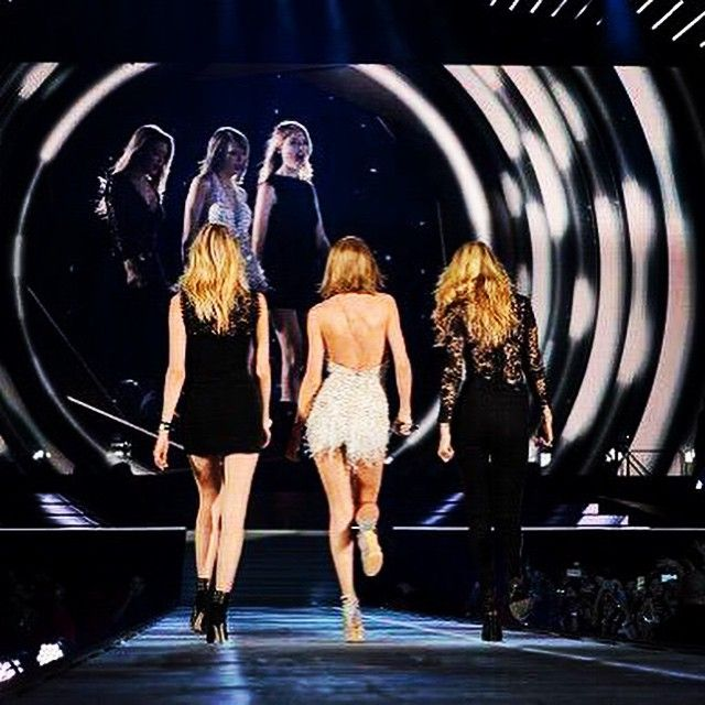 When two of your best friends strut the runway with you during 'Style'... #1989TourDetroit @gigihadid @marhunt