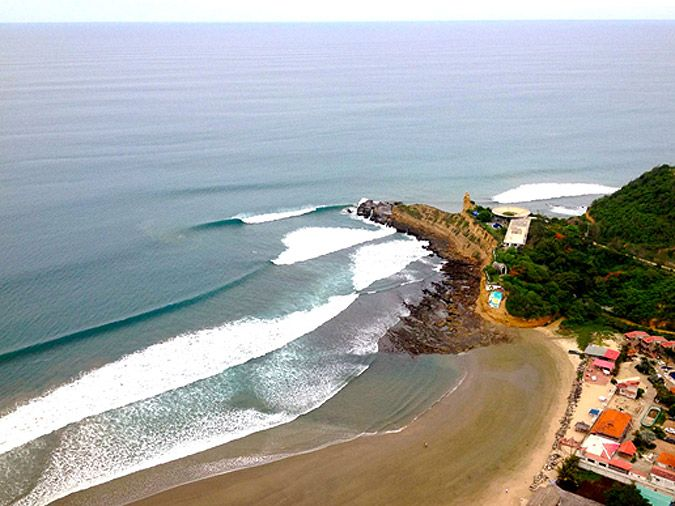 Ecuador small beach Towns | An aerial view of the contest site and the perfect waves in Montañita ...surf!!