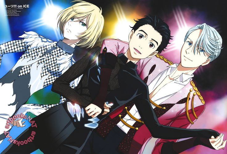 "artbooksnat: "" Yuri!!! on Ice (ユーリ!!! on ICE) Yuri Plisetsky, Yuri Katsuki, and Victor Nikiforov dazzle in their competition costumes for this new Animage Magazine (Amazon US 