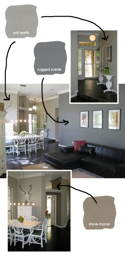 grey paint colors, Mix it up a bit through the first floor