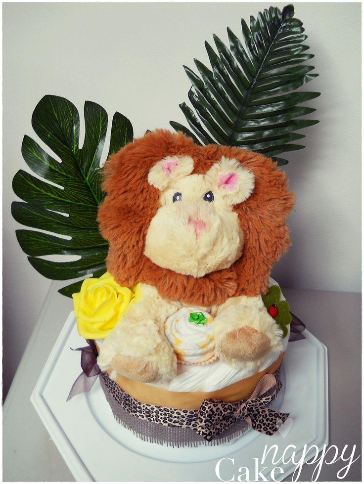 Gateau de couches 1 étage lion safari de bébé diapercake Nappy Cake gateau de couches