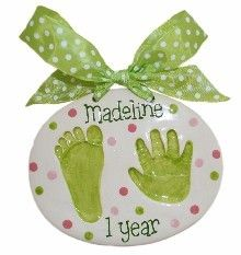 ceramic footprint/handprint - Christmas gift for the grandparents