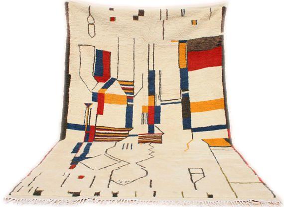 Azilal Teppich, Designerteppich, Wandteppich, Berberteppich 200x300, Marokkanischer Teppich, Bohemian Teppich Weiß Beige, Wollteppich