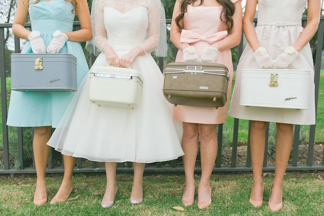 retro bridesmaids. I would love to give my girls lovely vintage train cases with supplies and such inside. Like the gloves and accessories, or emergency supplies