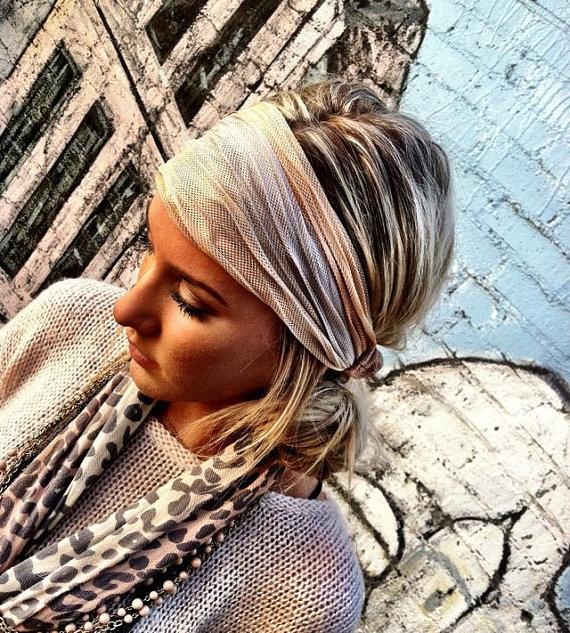 Cream Stretch Headband  Women's Spring wide hair by ThreeBirdNest, $14.50