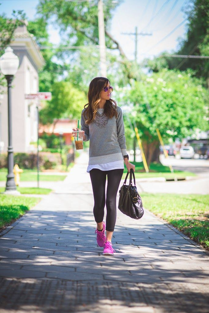 Sporty chic - leggings, sneakers, paired with a comfy sweater and jewelery Sequins & Things