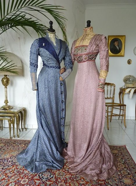Art Nouveau Silk Afternoon or Reception Gowns, ca. 1910 #edwardian