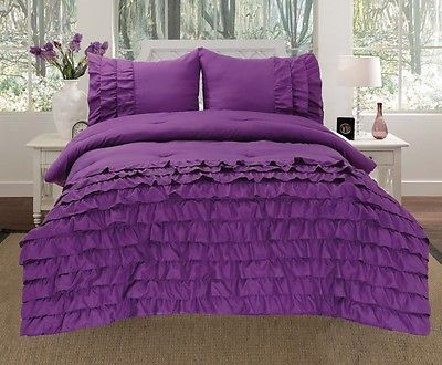 Katy 3 Piece Mini Ruffle Comforter Set Bed Cover New Arrival All Size Purple
