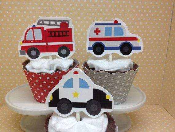 Emergency Vehicles Party Cupcake Topper by PartyByDrake on Etsy