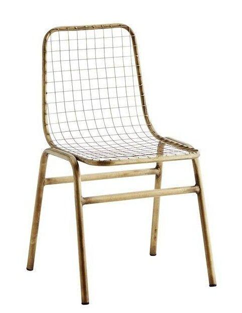 Stoere metalen stoel in antiek brass van madam SToltz shop je online bij DEENS.NL. Persoonlijk, goede service en gratis verzending vanaf 75 euro.