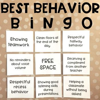Classroom Management - Best Behavior Bingo Game