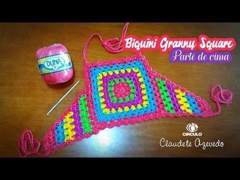 Biquíni Frente Única  Granny Square Crochê (parte de cima)
