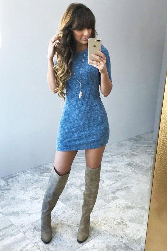 She's On Point Dress: Dusky Blue