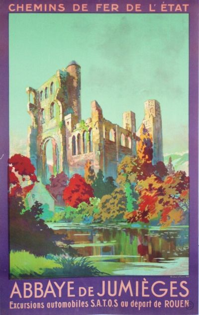 Abbaye de Jumieges original poster by Anonymous Vintage Railway Travel Poster - Abbaye de Jumièges - France - 1931.