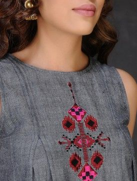 Grey-Red Embroidered Inverted Box Pleated Cotton Dress by Jaypore