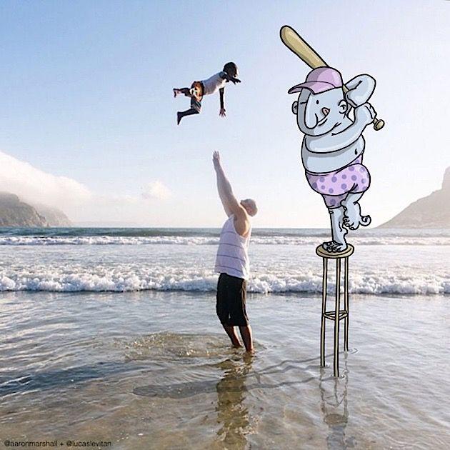 Lucas Levitan kombiniert Instagram-Fotos mit Cartoon-Figuren - detailverliebt.de