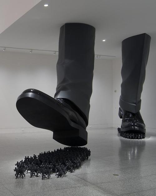 Artist: Do Ho Suh. Installation: Karma, 2003. Urethane paint on fiberglass/resin,