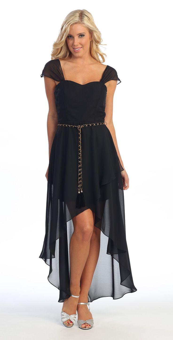 Cute High Low Black Semi Formal Dress Cap Sleeves Detachable Belt