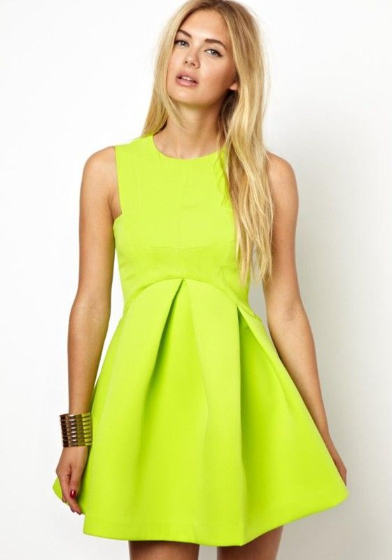 Neon colored cocktail dress