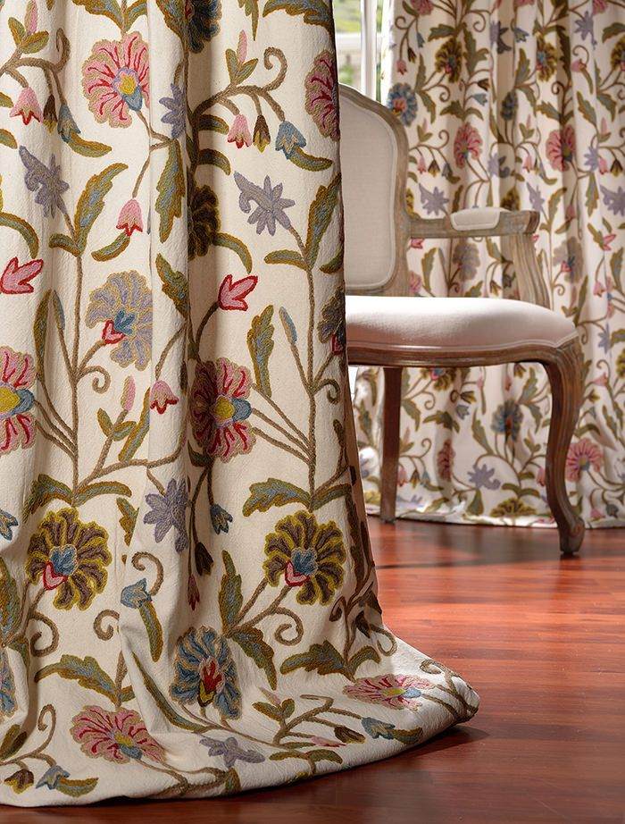 Buy Marlow Embroidered Cotton Crewel Curtain At Best Prices. Large Savings  On Embroidered Cotton Crewel Curtains For Window Treatments By  Halfpricedrapes.