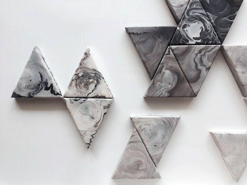 Marbled handmade tiles by Laura Itkonen