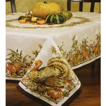 Turkey Festivities Thanksgiving Tablecloth   Clearance Sale