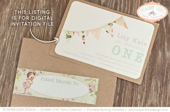 PERSONALIZED & CUSTOM Invitation - Shabby Chic, Vintage, First, Birthday, Baby, Shower, Girl, Bunting, Pennants, -  PDF File, You Print
