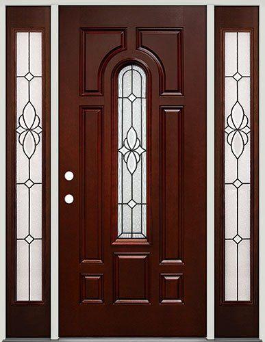 Center Arch Mahogany Fiberglass Entry Door With Sidelites