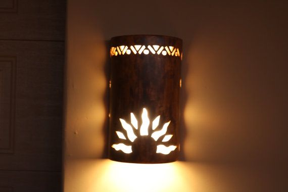Outdoor wall sconce half sun and detail by CustomCutLighting