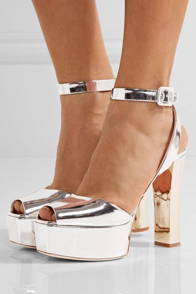 Heel measures approximately 125mm/ 5 inches with a 40mm/ 1.5 inches platform Silver and gold mirrored-leather Buckle-fastening ankle strap Designer color: Shooting Argento Made in Italy