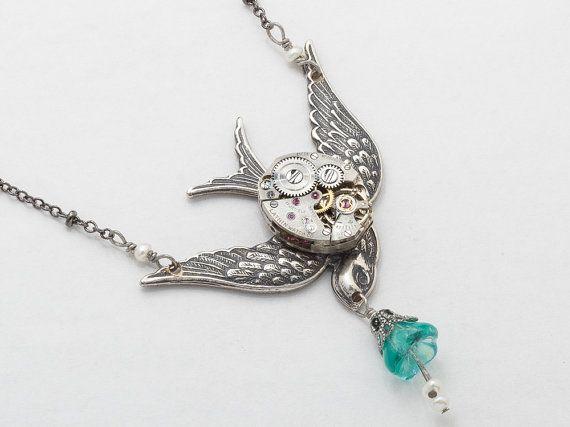 Steampunk Ketting Vintage horloge beweging zilver filigraan