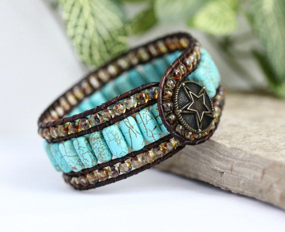 Western Turquoise Beaded Leather Cuff 3 Row by BearCreekCollection