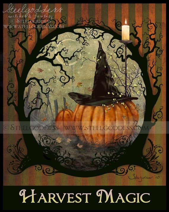 Halloween, All Hallows Eve, Trick or Treat, Witch, Goblin, Ghost, Black Cat, Bat, Skull, Ghouls, Scarecrow, Jack-O-Lantern, Pumpkin, Spooky, Scary, Haunting, Creepy, Frightening, Full Moon, Autumn, Fall, Magic Potion, Spells, Magic - Harvest Magic print by steelgoddess, on Etsy.