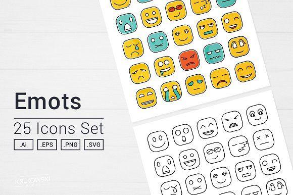 Square Emot Icons Set by Krukowski Graphics on @creativemarket