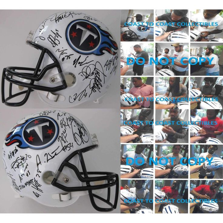 2016 Tennessee Titans, Team, Signed, Autographed, Riddell Full Size Football Helmet, a COA with the Proof Photos of the Titans Players Signing the Helmet Will Be Included