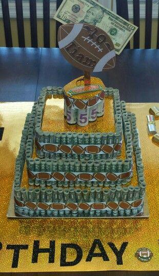 Boy's birthday money cake