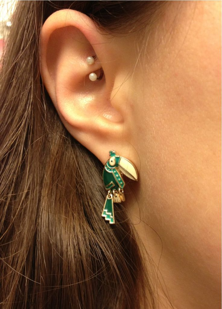rook piercing and toucan earrings from Accessorize