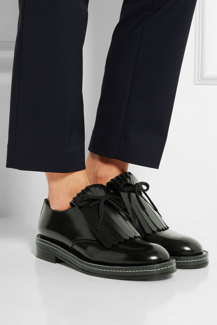 Marni | Fringed leather brogues | NET-A-PORTER.COM