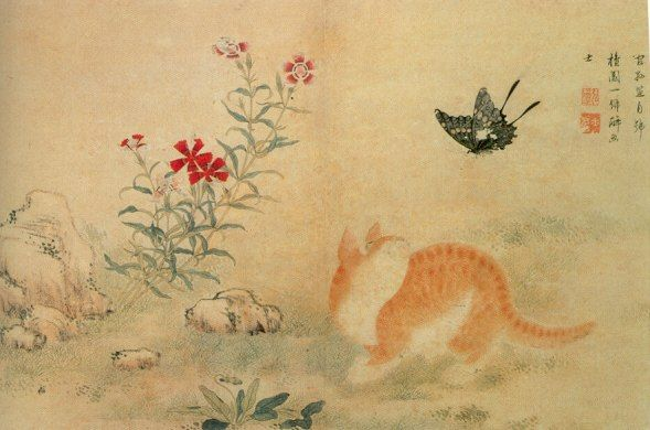 A Cat and a Butterfly By Kim Hong-do