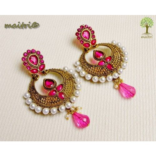 Online Shopping for Antique Earring -   Pink Gold | Earrings | Unique Indian Products by Maitri Crafts.  AME Pink Gold Length : 8 cm, Breadth at the center : 3.5 cm maitri_crafts@yahoo.com