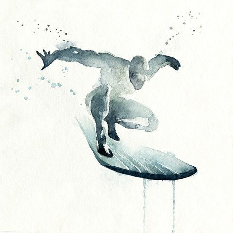 """Blule Water Painting: Silver Surfer """"You never get a second chance to make a first impression"""""""