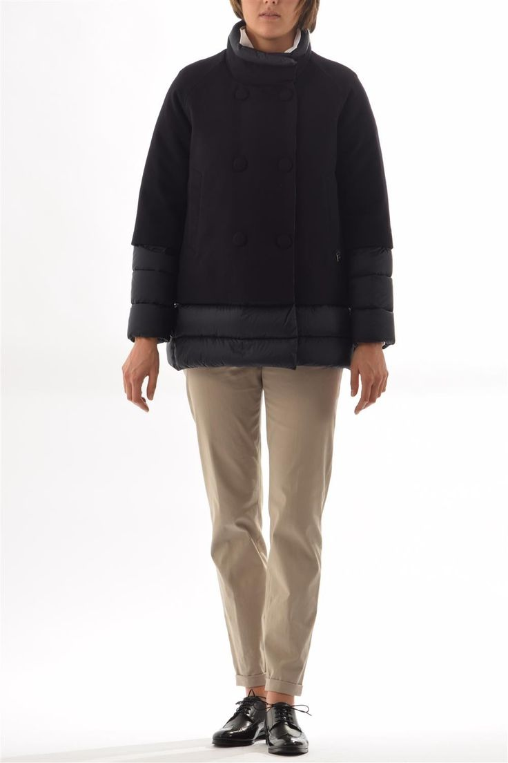 Down jacket ADD-wool and nylon peacoat
