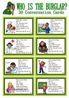 WHO IS THE BURGLAR? - 30 Conversation Cards - Roleplay - ...