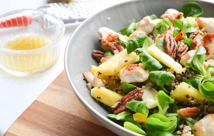 Fruitige Quinoa Salade met Ananas, Kip & Pecannoten