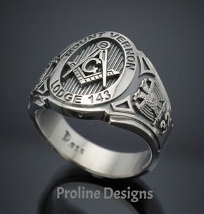 Customized Scottish Rite Masonic ring - cigar band style 025C in Sterling Silver